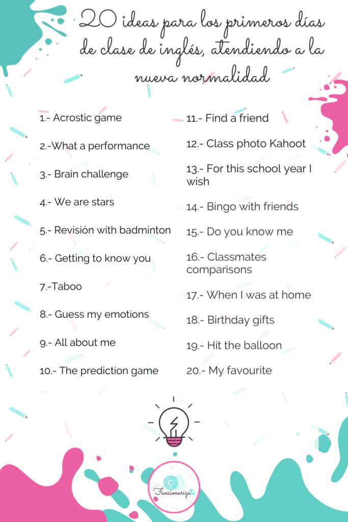 20 ideas para clases ingles
